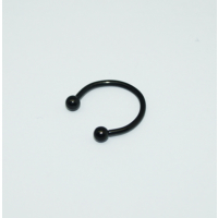 Cadının Dükkanı 316 L Cerrahi Çelik Toplu Siyah Yarım Ay Piercing (12 mm)