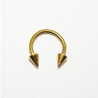 Cadının Dükkanı 316 L Cerrahi Çelik Sarı Spike Yarım Ay Piercing (8 mm)