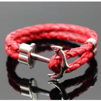 Myfavori Kırmızı Bileklik Çift Katmanlı Halat Deri El Yapımı Çapa Bileklik Yeni Moda Takılar