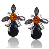 Myfavori En Yeni Takı Modelleri Kristal Siyah Taşlı Küpe Romantik Hediyeler