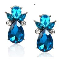 Myfavori Yeni Marka Tasarım Küpe Mavi Cam Taş Gümüş Kaplama Moda Mavi Küpe