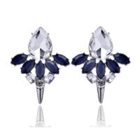 Myfavori Gümüş Kaplama Koyu Mavi Taşlı Küpe Trend Takılar En Güzel Küpe Modelleri