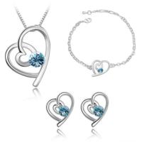 Modakedi Mavi Kalp Kristal Bayan Takı Seti