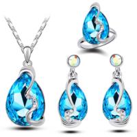 Modakedi Mavi Kristal Taşlı Özel Tasarım 3'lü Takı Seti