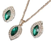Modakedi Altın Kaplama Yeşil Damla Model Kristal Bayan Takı Seti