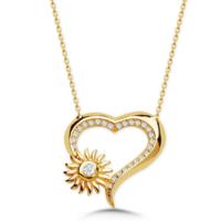 Vaoov 925 Ayar Gümüş Güneş Kalp Kolye
