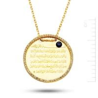 Bella Gloria Taşlı Plaka Ayet El Kürsi Altın Kolye (Pp78380)