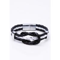 La Pescara Siyah Beyaz Taba Deri Çelik Erkek Bileklik BLK1087