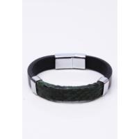 La Pescara Yeşil Yılan Derili Çelik Erkek Bileklik BLK1104