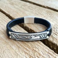 Ashyl Hiyeroglif İsimli Deri Gümüş Bileklik