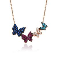 İndigo Takı Dörtlü Renkli Kelebekler Gümüş Kolye