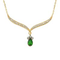 Altınsepeti Altın Zümrüt Yeşili Taşlı Gerdanlık Kolye As990Klr2