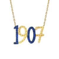 Altınsepeti Sarı Lacivert 1907 Yazılı Altın Kolye As1090Kl