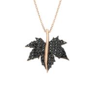 Altınsepeti Siyah Taşlı Altın Çınar Yaprağı Kolye As1050Kl