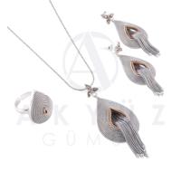 Akyüz Gümüş Hasır Püsküllü Telkari Gümüş Set