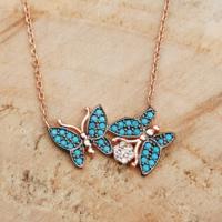Chavin Bahar Kelebekleri Turkuaz Taşlı Gümüş Bayan Kolye Dg80