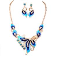 Modakedi Altın Kaplama Mavi Yaprak Kristal Bayan Takı Seti