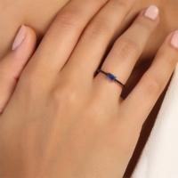 Sanroza Gümüş Takı Zirkon Mavi Taşlı Gümüş Yüzük 12