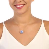 Sanroza Gümüş Takı Milky Kuvars Mavi Taşlı Gümüş Kolye