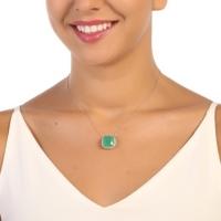 Sanroza Gümüş Takı Milky Kuvars Yeşil Taşlı Gümüş Kolye