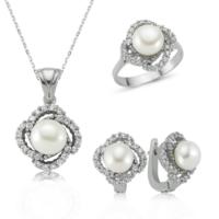 MeryemZeynep Gümüş İnci Çiçeği Set