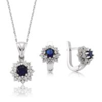 MeryemZeynep Gümüş Mavi Nilüfer Çiçeği İkili Set