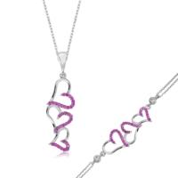 MeryemZeynep Gümüş Üç Kalp Set
