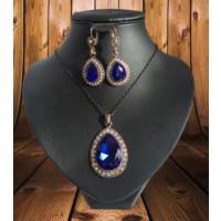 Forentina Mavi Büyük Taşlı Kolye Küpe Set FR0397