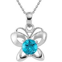 Goldstore Gümüş Blue Topaz Kelebek Kolye Sp17031