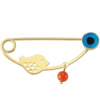 Goldstore 14 Ayar Altın Little Bird Nazarlıklı Yaka İğnesi G33313