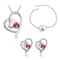 Myfavori Takı Seti Romantik Takılar Kalp Kolye Ve Küpe Bileklik 3Lü Takı Setleri