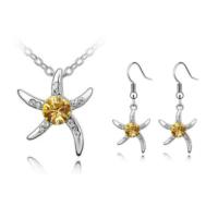 Myfavori Takı Seti Sarı Taşlı Deniz Yıldızı Gümüş Kaplama Moda Hediyelik Takı Seti