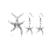 Myfavori Takı Seti Beyaz Taşlı Deniz Yıldızı Gümüş Kaplama Kolye Ve Küpe Takı Seti