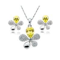 Myfavori Takı Seti Yeni Model Kristal Takı Seti Beş Yaprak Sarı Kolye Ve Küpe Takı Seti