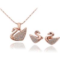 Myfavori Takı Seti 2017 Takı Modelleri Rose Gold Kaplama Moda Kristal Kuğu Kolye Küpe