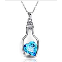 Myfavori Kolye Mavi Kalp Taşlı Kolye Moda Kristal Şişe İçinde Kalp Choker Kolye