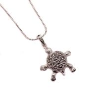 Sümer Telkari Kaplumbağa Markazit Taşlı Gümüş Kolye 878