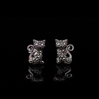 Sümer Telkari Markazit Taşlı Kedi Tasarım Gümüş Küpe 371