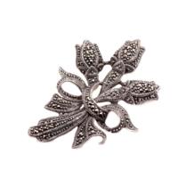 Sümer Telkari Laleli Markazit Tasarım Gümüş Broş 66