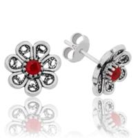 Tekbir Silver Gümüş Kırmızı Çiçek Küpe