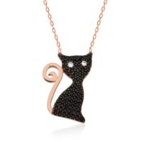 Tekbir Silver Gümüş Kara Kedi Kadın Kolye