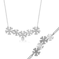 Bayan Lili Gümüş Kar Taneleri Set