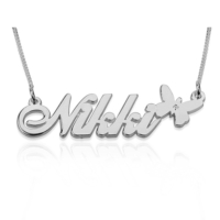 Gümüş ve Pırlanta taşlı, isminize özel isimli kolye ar41slv
