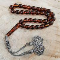Chavin Gümüş Kazaz İmameli Orjinal Kehribar Tesbih khv63
