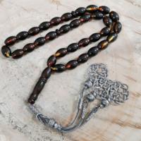 Chavin Gümüş Kazaz İmameli Orjinal Kehribar Tesbih khv85