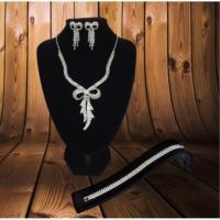 Forentina Gümüş Kaplama Kurdela Kolye Küpe Bileklik Set Fr0424