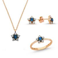 AltınSepeti Altın Mavi Taşlı Otantik Mini Çiçek Takım AS8TK19T4