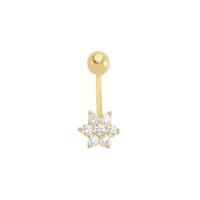 AltınSepeti Altın Taşlı Çiçek Piercing AS06PC
