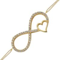 AltınSepeti Altın Sonsuzluk İşareti Kalp Bileklik AS147BL