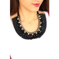 Çınar E-Ticaret Siyah Püskül Tasarımlı Bayan Yaka Kolye Bko1659